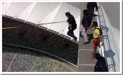 Jumping at Moses Mabhida Stadium