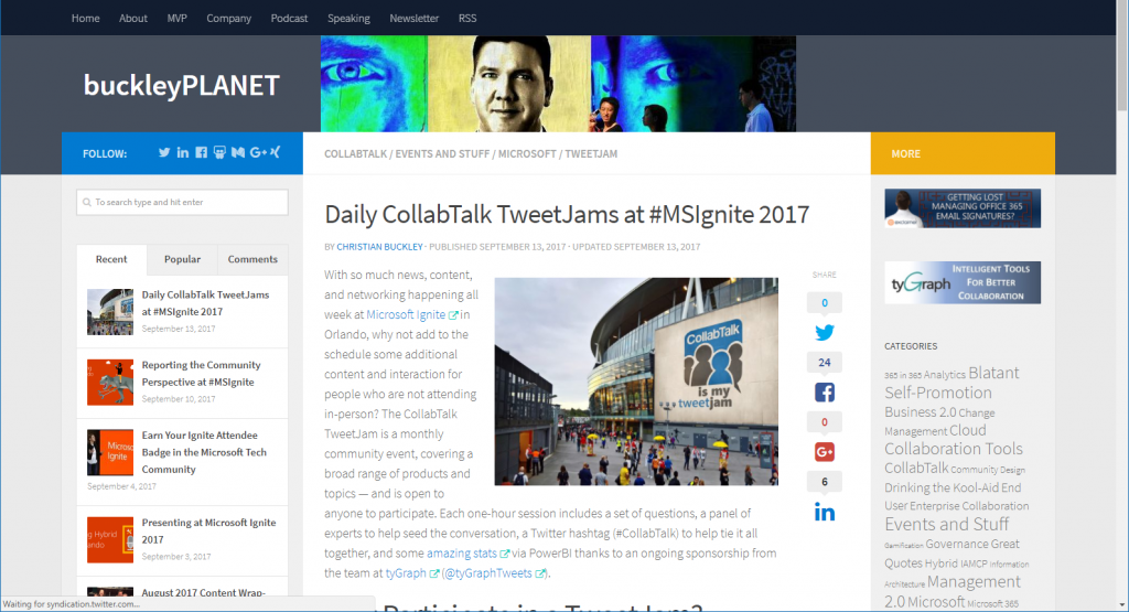 buckleyPLANET blog on MSIgnite tweetjams