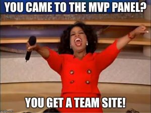 A brief Oprah moment during the MVP panel at SPC18