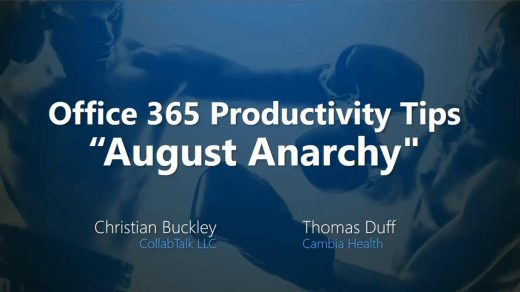 Office 365 Productivity Tips August Anarchy 2018