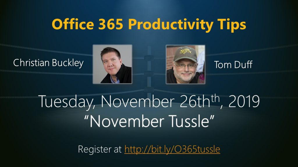 Register for the Nov 2019 Office 365 Productivity Tips webinar