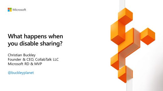 What happens when you disable sharing in OneDrive and SharePoint #MSIgnite