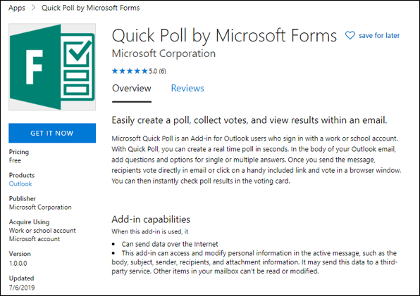 Add Quick Polls to Outlook emails