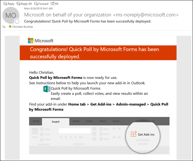 Microsoft confirmation that Quick Poll has been configured