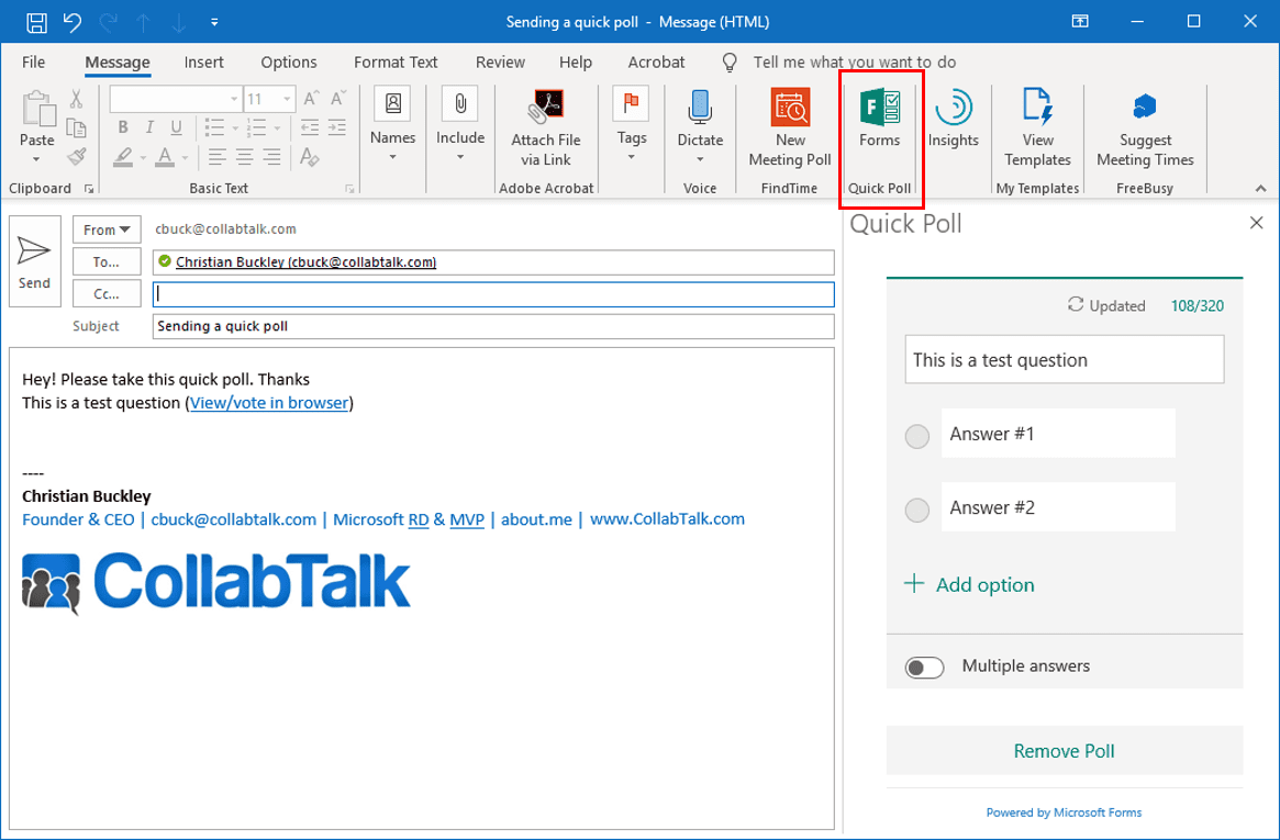 Setting up your new Quick Poll in Outlook