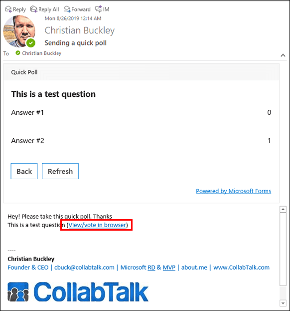 See the results of your Quick Poll responses in Outlook
