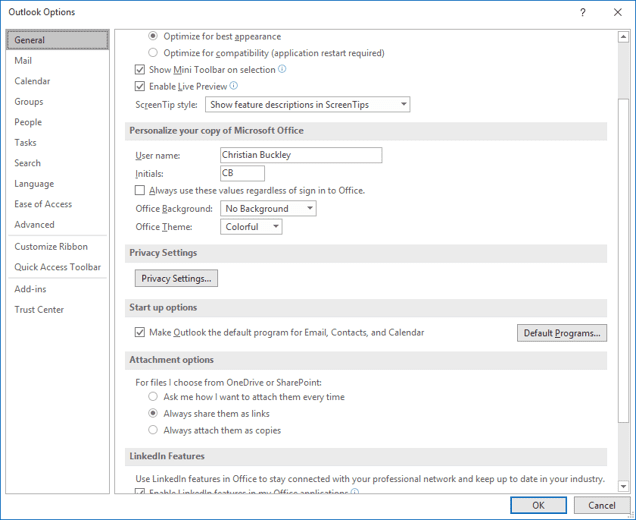 Changing attachment options in Outlook client