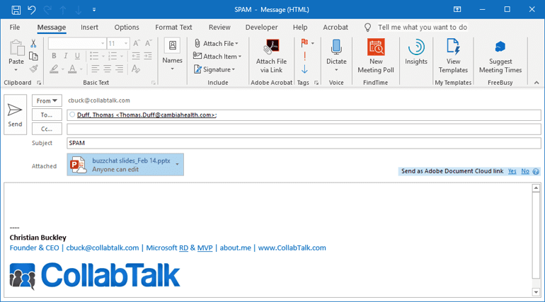 Attachment as a link in Outlook