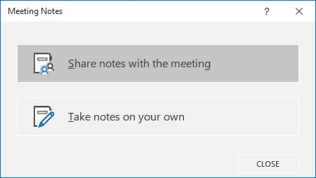 Options for creating a shared or personal OneNote for a meeting