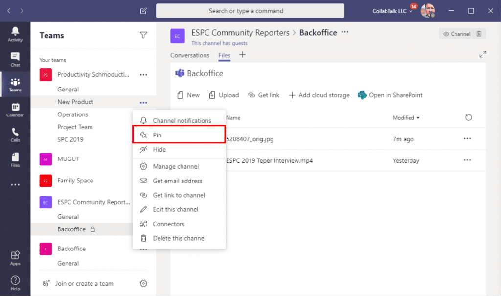Select a channel to pin in Microsoft Teams