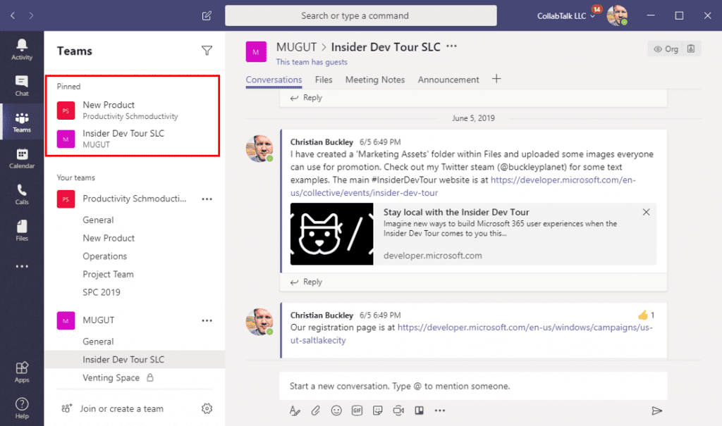 Pinned channels in Microsoft Teams