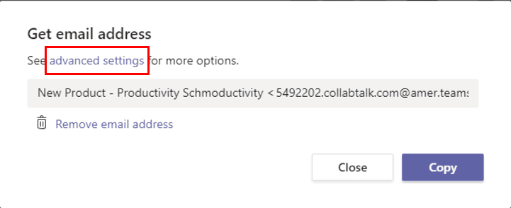 Advanced settings for emailing a channel in Microsoft Teams