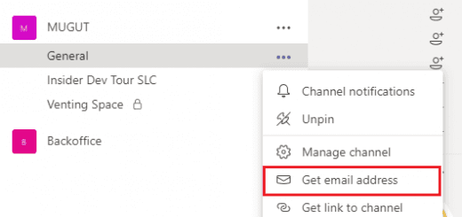 Find the email address for a Microsoft Teams channel