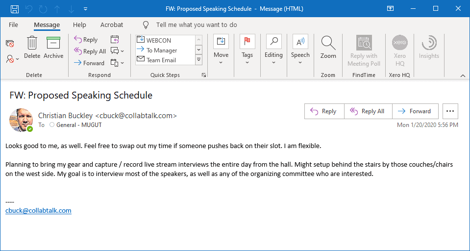 Opened email that had been shared in a Microsoft Teams channel