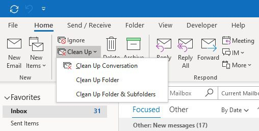 Clean Up options in Outlook