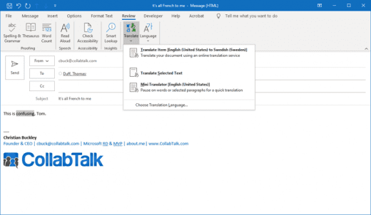 Microsoft Translate now part of Microsoft Outlook