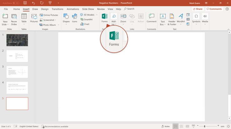 Adding a new Microsoft Form to a PowerPoint presentation