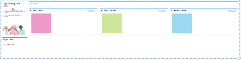 Whiteboard KWL template