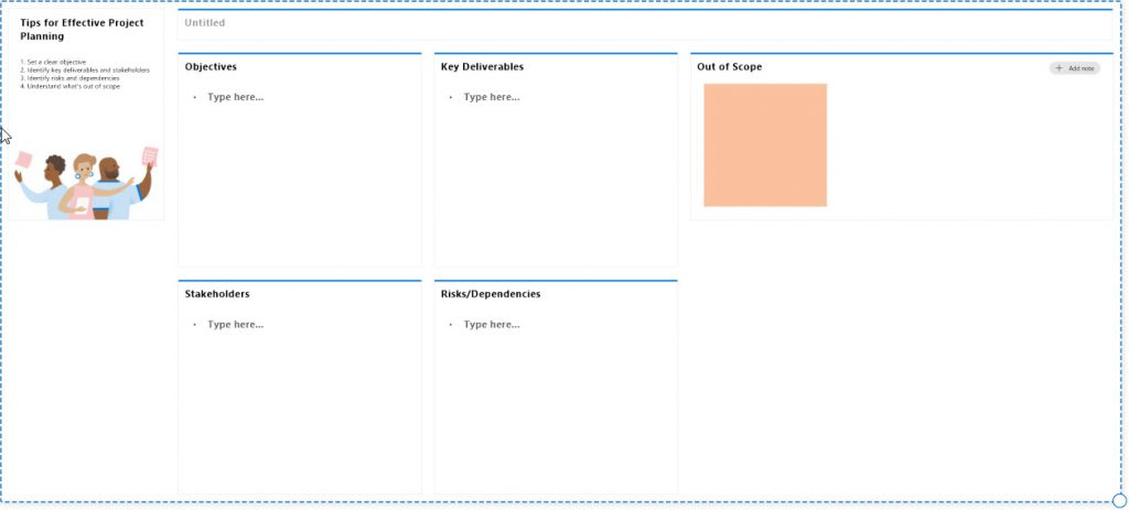 Whiteboard Project Planning template