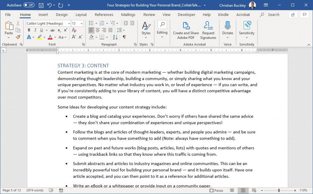 Changing the autosave settings for Word
