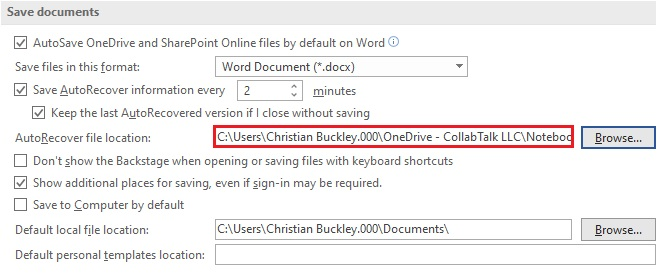 Changed location for Word AutoSave