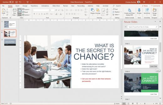 Inserted slides from existing PowerPoint presentation for reuse