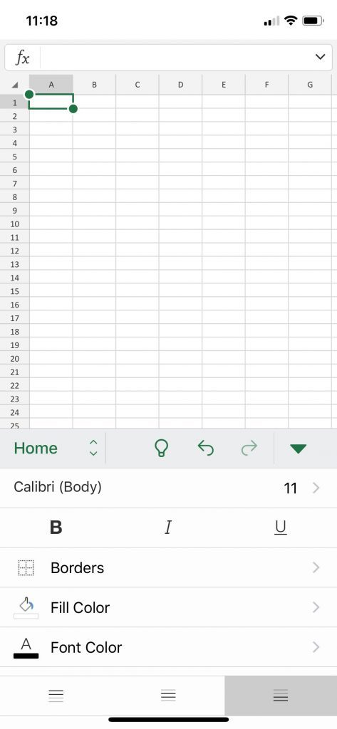 default formatting options in the Excel app