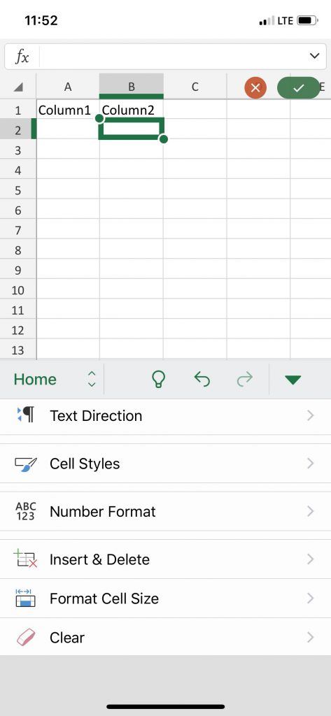 Excel app features in the new Office app
