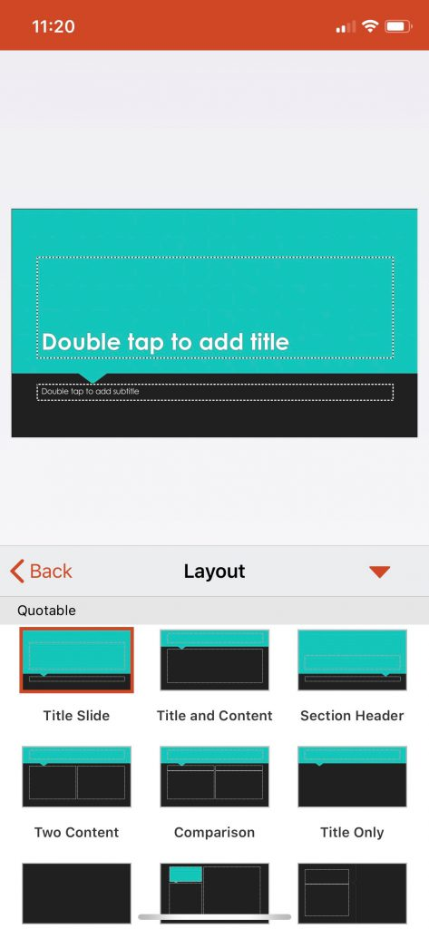 Changing your slide layout for the PowerPoint mobile app