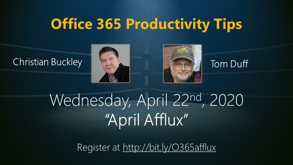 "April 2020 Office 365 Productivity Tips webinar - ""April Afflux"""