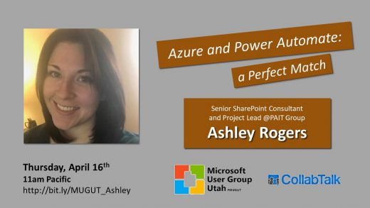 MUGUT webinar with Ashley Rogers on Azure and Power Automate